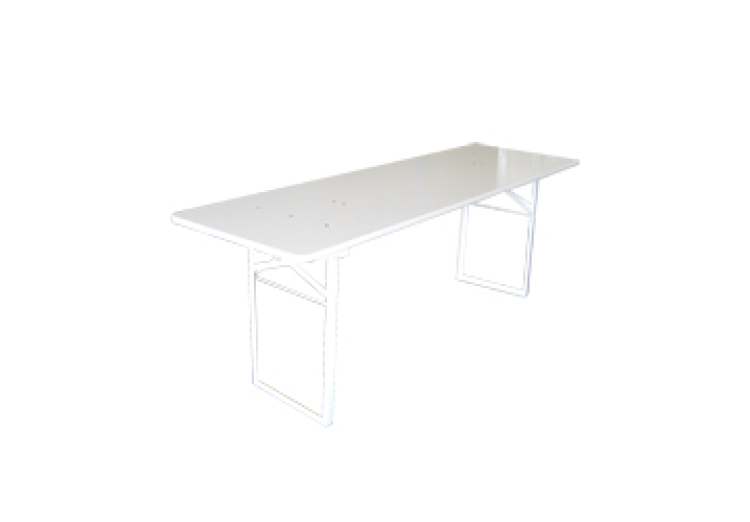 Lange biertafel hout wit 0,50m x 2,20m