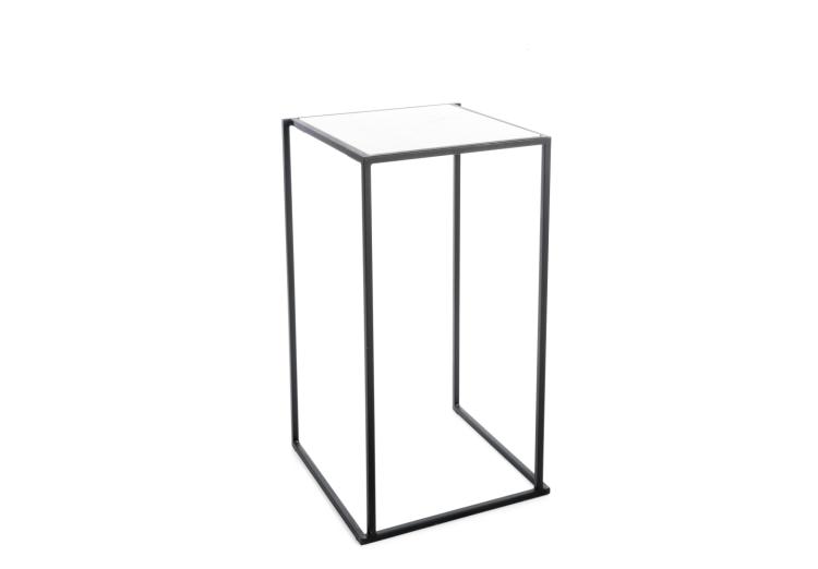 Quadrum tafel zwart met wit marmer blad