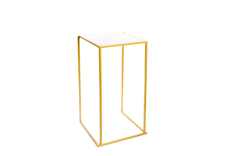Quadrum tafel goud met wit marmer blad