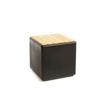Kubus zwart met cederhout